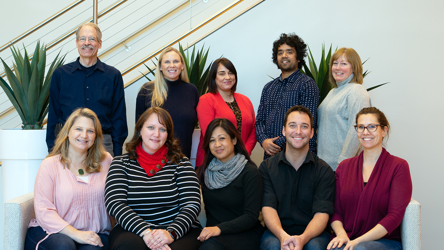 The spring 2019 OCIP team The spring 2019 OCIP team. Front row, left to right: Rebecca Sanchez, Bethany Smith, Arlene Mendoza-Moran, Christopher Beeson and Bethanne Tobey. Back row, left to right: Peter Hessling, Julianne Treme, Melissa Ramirez, Muntazar Monsur and Christine Cranford. Pictured in the lobby of CTI. The front row is sitting on a couch and the back row is standing behind them.